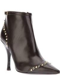 schwarze beschlagene Leder Stiefeletten von Dsquared2