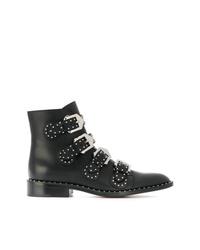 schwarze beschlagene Leder Stiefeletten von Givenchy