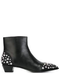 schwarze beschlagene Leder Stiefeletten von Marc by Marc Jacobs