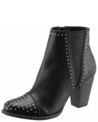 schwarze beschlagene Leder Stiefeletten von Tom Tailor