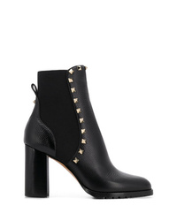 schwarze beschlagene Leder Stiefeletten von Valentino