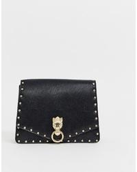 schwarze beschlagene Leder Umhängetasche von ASOS DESIGN