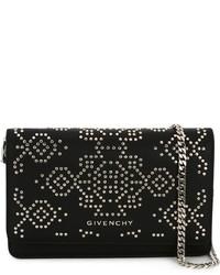 schwarze beschlagene Leder Umhängetasche von Givenchy