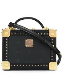 schwarze beschlagene Leder Umhängetasche von MCM