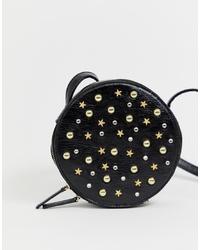 schwarze beschlagene Leder Umhängetasche von Monki