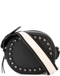 schwarze beschlagene Leder Umhängetasche von No.21