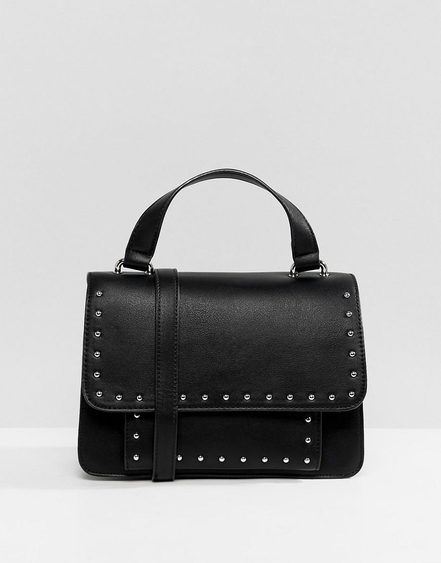schwarze beschlagene Leder Umhängetasche von Pull&Bear