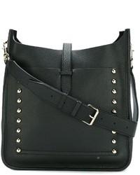 schwarze beschlagene Leder Umhängetasche von Rebecca Minkoff