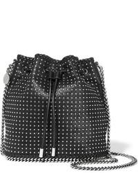 schwarze beschlagene Leder Umhängetasche von Stella McCartney