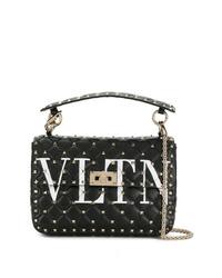 schwarze beschlagene Leder Umhängetasche von Valentino