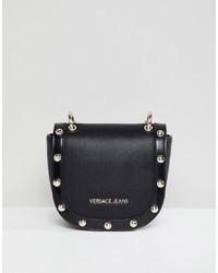 schwarze beschlagene Leder Umhängetasche von Versace Jeans