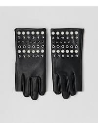 schwarze beschlagene Lederhandschuhe von ASOS DESIGN