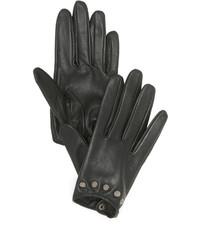 schwarze beschlagene Lederhandschuhe von Carolina Amato