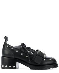 schwarze beschlagene Lederschnürschuhe von No.21
