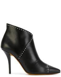 schwarze beschlagene Lederstiefel von Givenchy