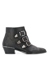 schwarze beschlagene Schnürstiefeletten aus Leder von Chloé