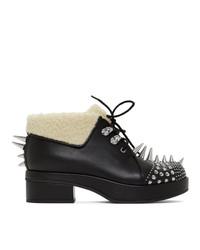 schwarze beschlagene Schnürstiefeletten aus Leder von Gucci