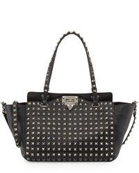 schwarze beschlagene Shopper Tasche aus Leder