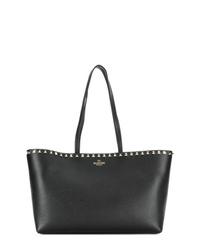 schwarze beschlagene Shopper Tasche aus Leder von Valentino
