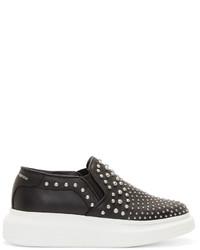 schwarze beschlagene Slip-On Sneakers aus Leder von Alexander McQueen
