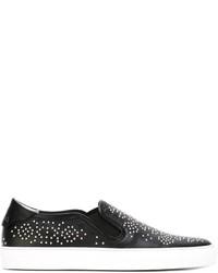 schwarze beschlagene Slip-On Sneakers aus Leder von Givenchy