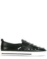 schwarze beschlagene Slip-On Sneakers aus Leder von RED Valentino