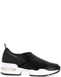 schwarze beschlagene Slip-On Sneakers aus Wildleder von Ermanno Scervino