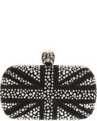 schwarze beschlagene Wildleder Clutch von Alexander McQueen