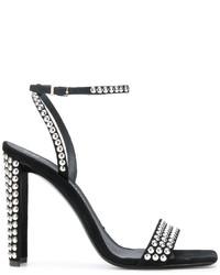 schwarze beschlagene Wildleder Sandaletten von Giuseppe Zanotti Design