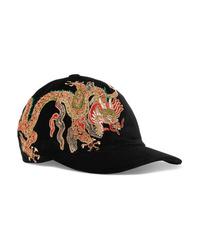 schwarze bestickte Baseballkappe von Gucci