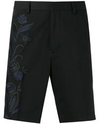 schwarze bestickte Baumwollshorts von Fendi