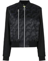 schwarze bestickte Bomberjacke von Versace