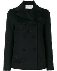 schwarze bestickte Cabanjacke von Valentino