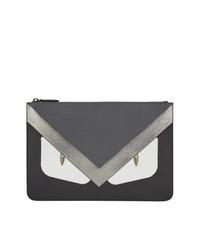 schwarze bestickte Clutch Handtasche von Fendi