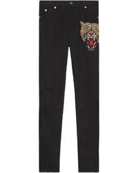 schwarze bestickte enge Hose von Gucci