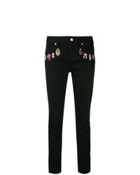schwarze bestickte enge Jeans von Alexander McQueen