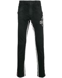 schwarze bestickte enge Jeans von Balmain