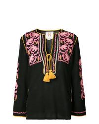 schwarze bestickte Folklore Bluse von Figue