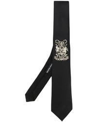 schwarze bestickte Krawatte von Alexander McQueen