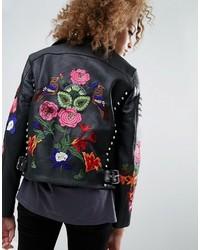 schwarze bestickte Leder Bikerjacke von Asos