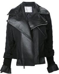 schwarze bestickte Leder Bikerjacke von Sacai