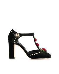 schwarze bestickte Leder Pumps von Dolce & Gabbana
