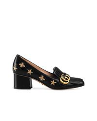 schwarze bestickte Leder Pumps von Gucci