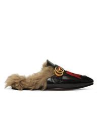 schwarze bestickte Leder Slipper von Gucci
