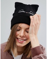 schwarze bestickte Mütze von Asos