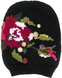 schwarze bestickte Mütze von Dolce & Gabbana
