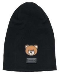 schwarze bestickte Mütze von Moschino