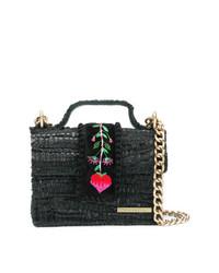 schwarze bestickte Satchel-Tasche aus Leder von Kooreloo