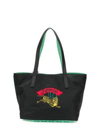 schwarze bestickte Shopper Tasche aus Leder von Kenzo
