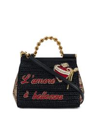 schwarze bestickte Shopper Tasche aus Stroh von Dolce & Gabbana